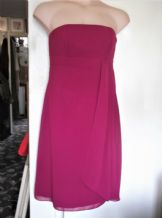 BNWT LADIES CERISE CHIFFON DRESS DESSY COLLECTION 12 USA 10 £171 FALL SIDE STPS
